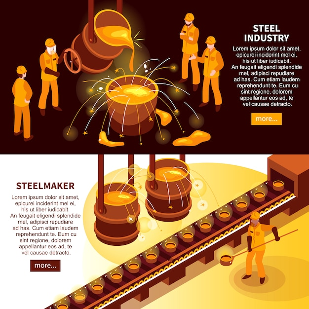 Steel industry isometric banners Free Vector