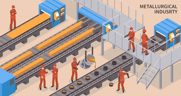 Steel industry isometric Free Vector