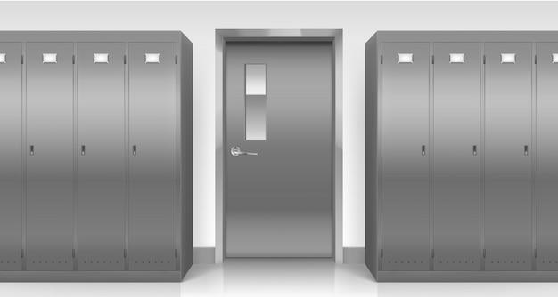 Steel lockers and door, changing room cabinets Free Vector