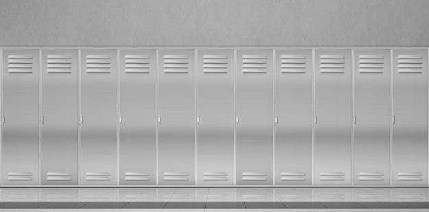 Steel lockers in school corridor or changing room Free Vector