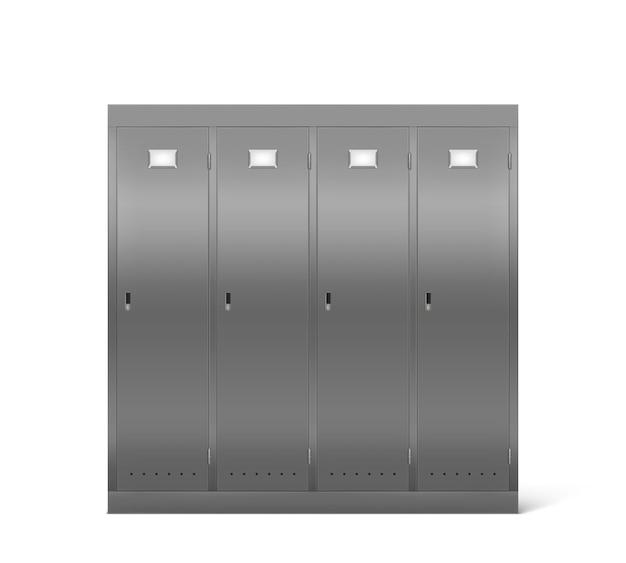 Steel lockers in school corridor or changing room Free Vector