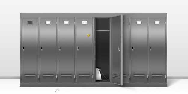 Steel lockers, school or gym changing room metal cabinets. Free Vector