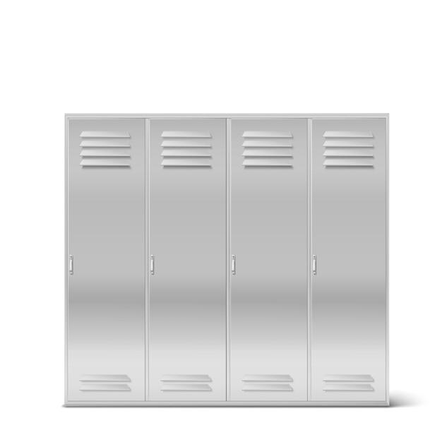 Steel lockers, vector high school or gym cabinets Free Vector