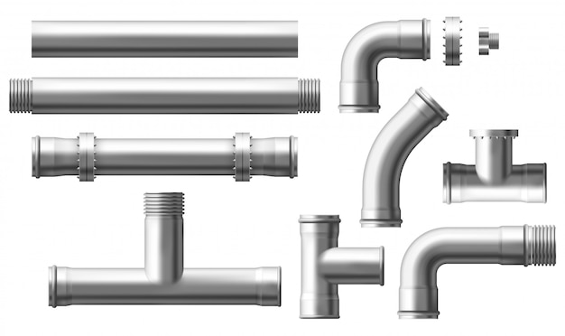 Steel pipes bolted connectors realistic vector set Free Vector