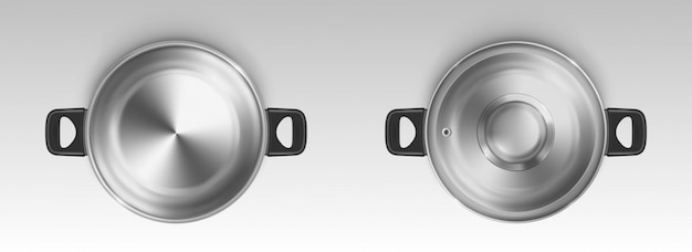 Steel pot, cooking pan, empty saucepan top view Free Vector