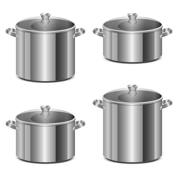 Steel pot design illustration isolated on white background Premium Vector