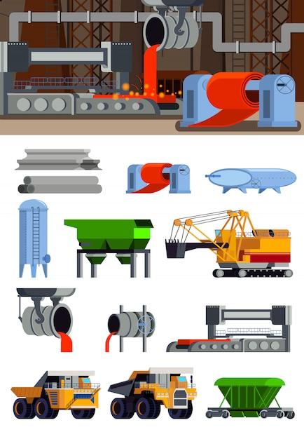 Коллекция элементов производства стали и баннер Бесплатные векторы