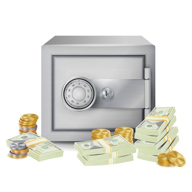 Steel safe box Premium Vector