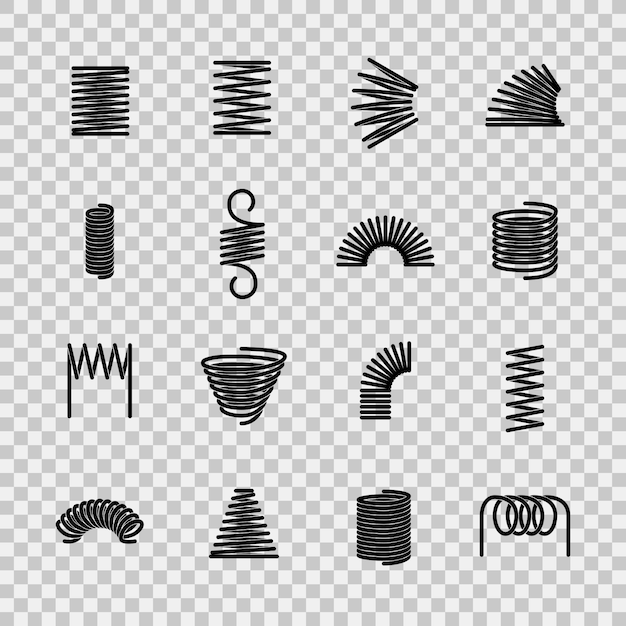 Steel spring. spiral coil flexible steel wire springs shape. absorbing pressure equipment line icons Premium Vector