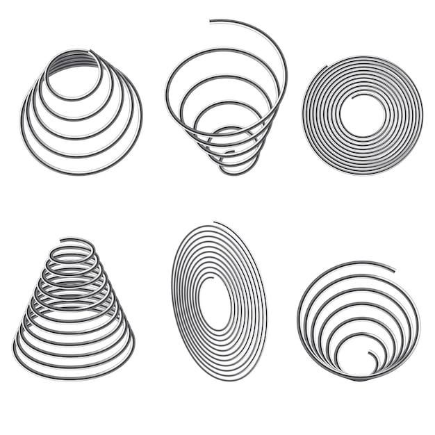 Steel springs. spiral spring set. Premium Vector