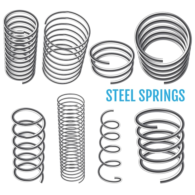 Steel springs. Premium Vector