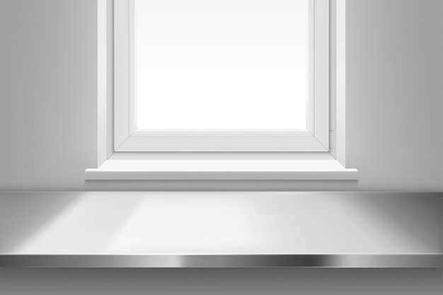 Steel table surface top view front of window. Free Vector