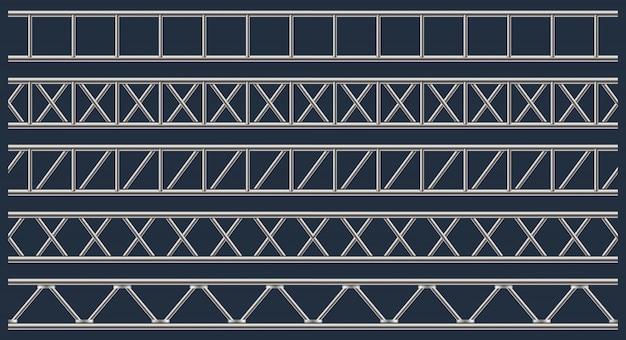 Steel truss girder, chrome pipes, metal. Premium Vector