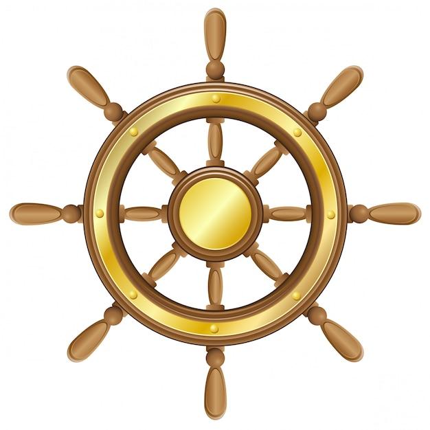 Steering wheel for ship vector illustration Premium Vector
