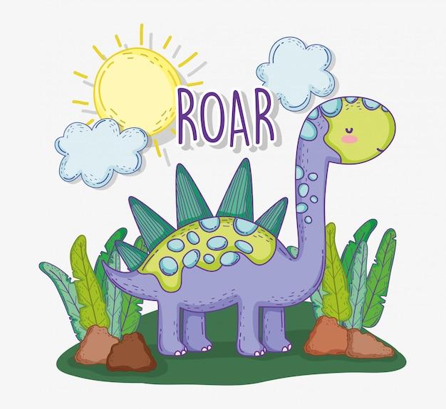 Стегозавр животное в растениях с солнцем и облаками Premium векторы