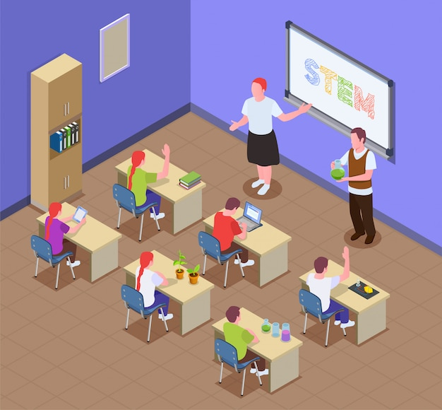 Stem education isometric composition with classroom indoor scenery and kids sitting at desks with teacher characters Free Vector
