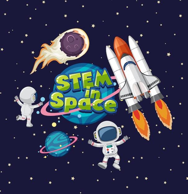 Ствол в космическом логотипе на сатурне на космическом фоне Premium векторы
