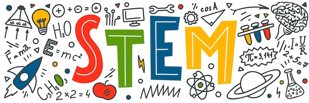 Stem. science, technology, engineering, mathematics. science education doodles and hand written word Premium Vector