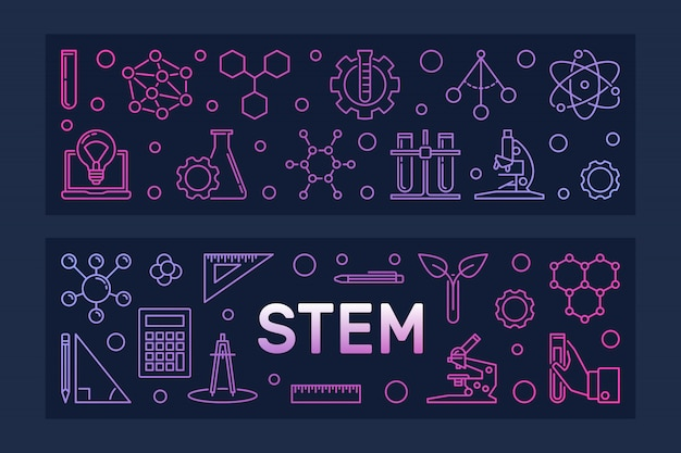 Stem   two colorful line banners Premium Vector