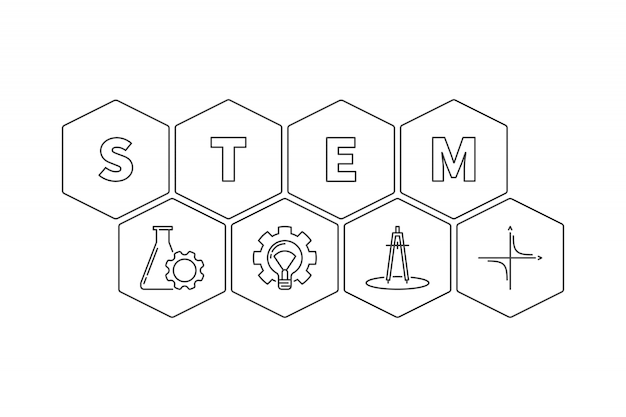 Stem word with icons hexagonal outline illustration Premium Vector