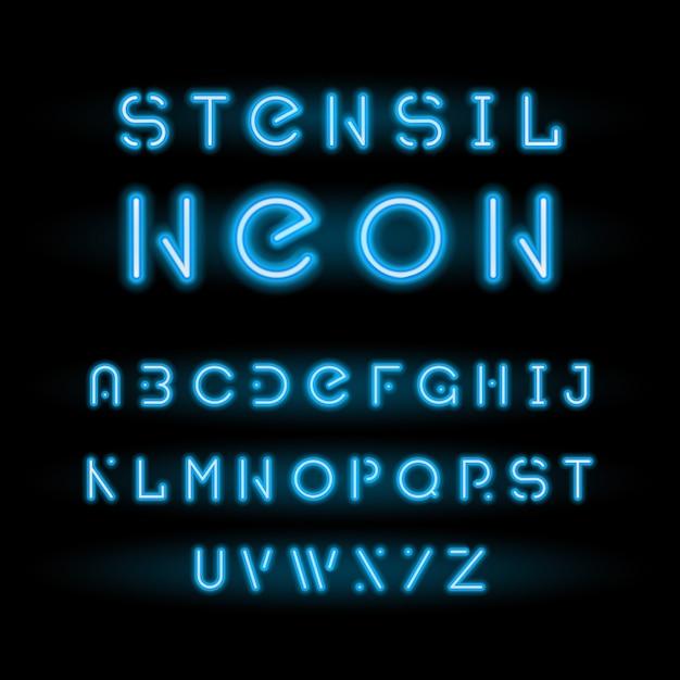 ステンシルネオン書体、青いモジュラーラウンドアルファベット 無料ベクター