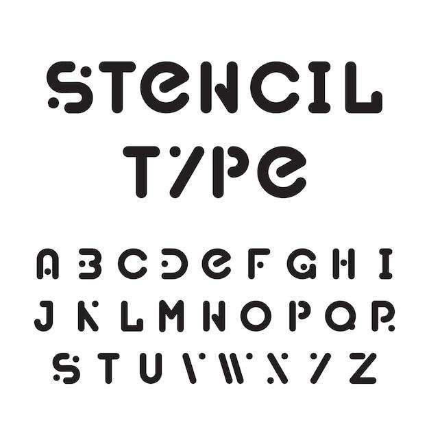 스텐실 서체, 검은 색 모듈 식 라운드 알파벳 무료 벡터