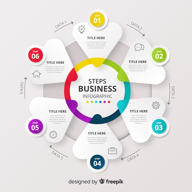 Step business infographic Free Vector
