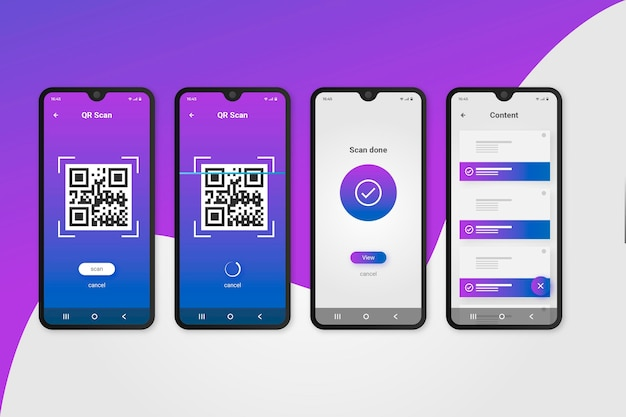 Step-by-step guide in using qr code Premium Vector