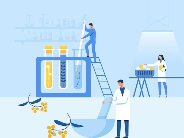 Step-by-step natural medication preparation in lab Premium Vector