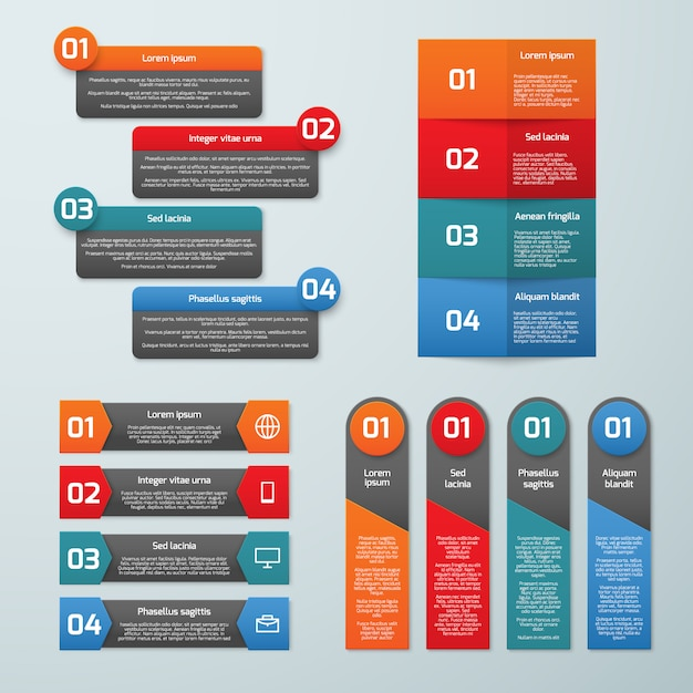 Step by step options vector infographic templates. information tabs and presentation banners set Premium Vector