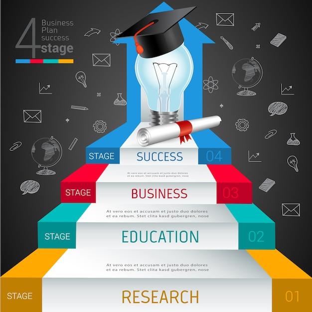 Step education book open entrance to success. Premium Vector