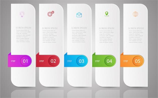 Step infographic template Premium Vector