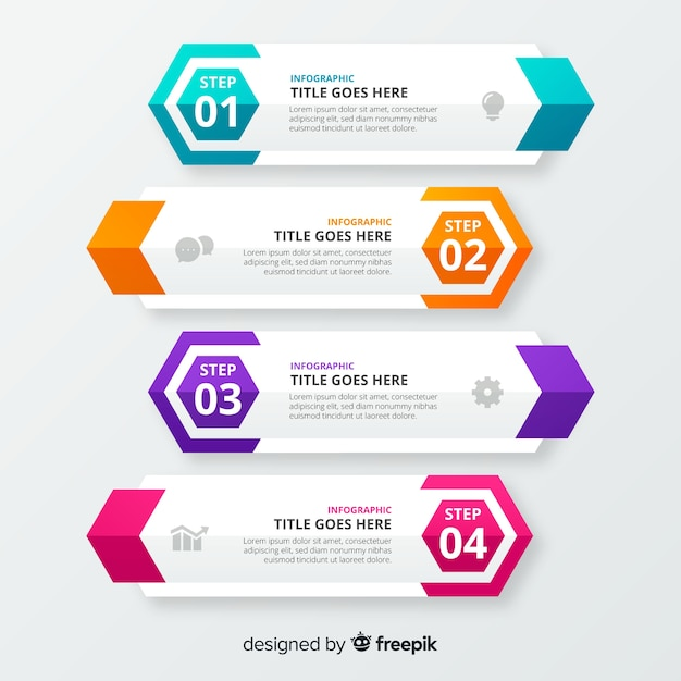 Steps business infographic template Free Vector
