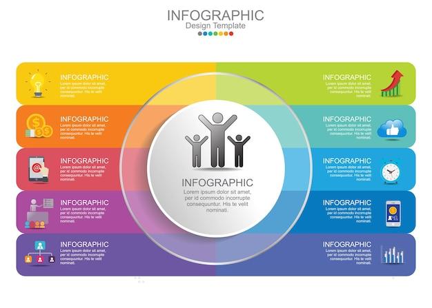 Steps business infographics chart elements. Premium Vector