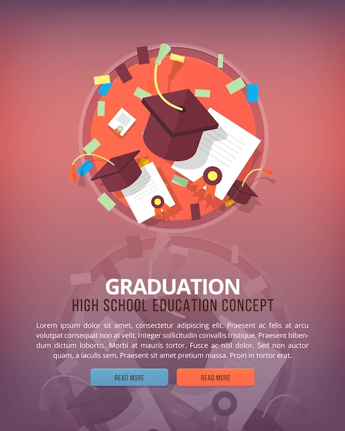 Steps of educational process. graduation. education and science vertical layout concepts.  modern style. Premium Vector