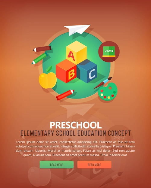 Steps of educational process. types of knowledge resources. preschool. basic and elementary subject. education and science vertical layout concepts.  modern style. Premium Vector