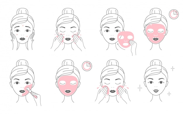 Steps how to apply facial cosmetic mask and clay mask. Premium Vector