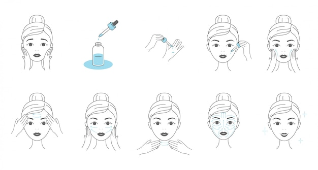 Steps How To Apply Facial Serum Young Woman Making Facial Massage By Lines Premium Vector