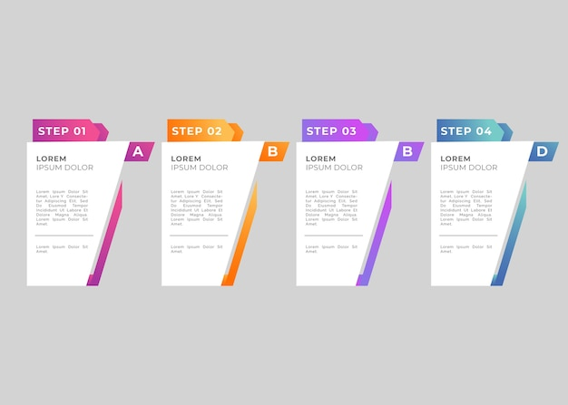 Steps infographic gradient template Free Vector