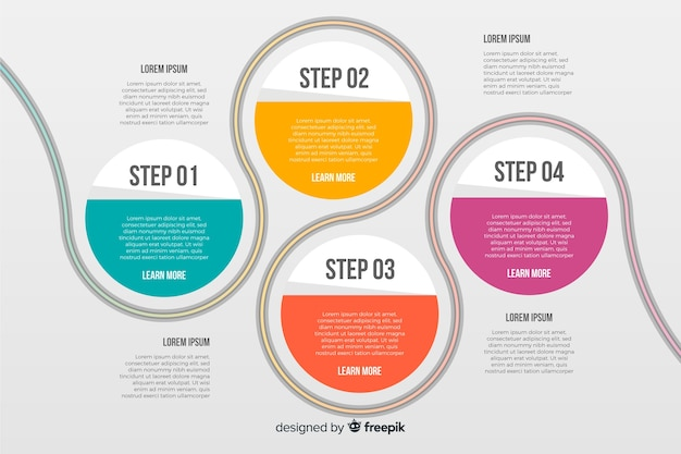 Steps infographic with connected circles Free Vector