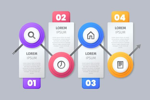 Шаги инфографики с иконками Бесплатные векторы