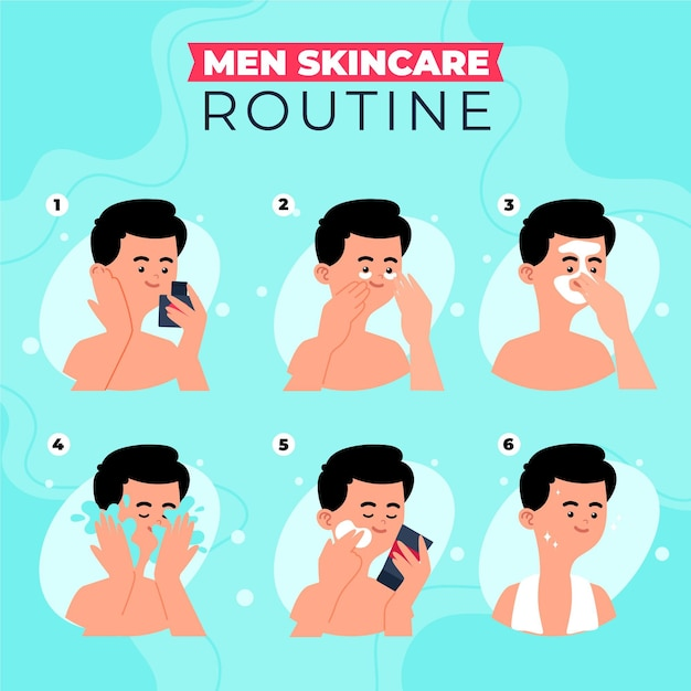 Free Vector | Steps of men skincare routine