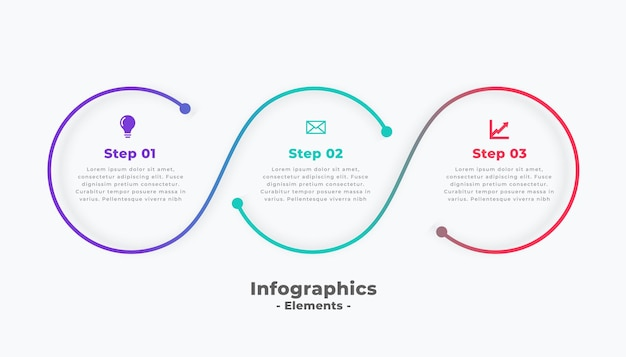 단계 현대 원형 연결 infographic 템플릿 무료 벡터
