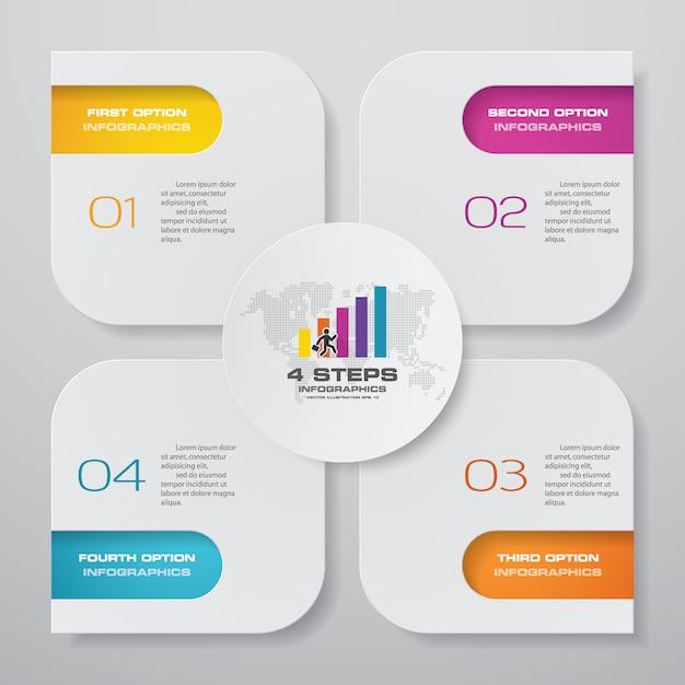 Steps simple editable process chart infographics element. Premium Vector