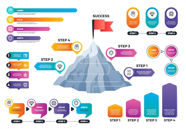 Steps to success infographics. mountain graph with levels, achievement and mission business vector charts Premium Vector
