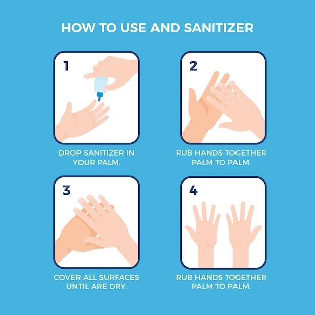 질병 및 위생 예방을 위해 손 소독제 사용 단계 무료 벡터