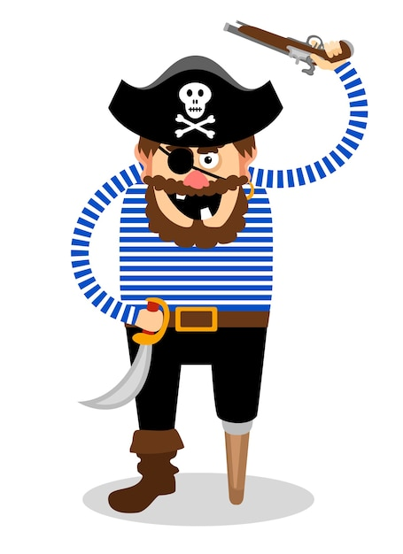 Stereotypical pirate on a white background with a wooden peg Free Vector