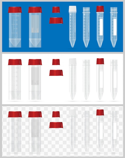Sterile containers for analysis. Premium Vector
