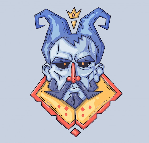Stern face of the fairy-tale king. Premium Vector