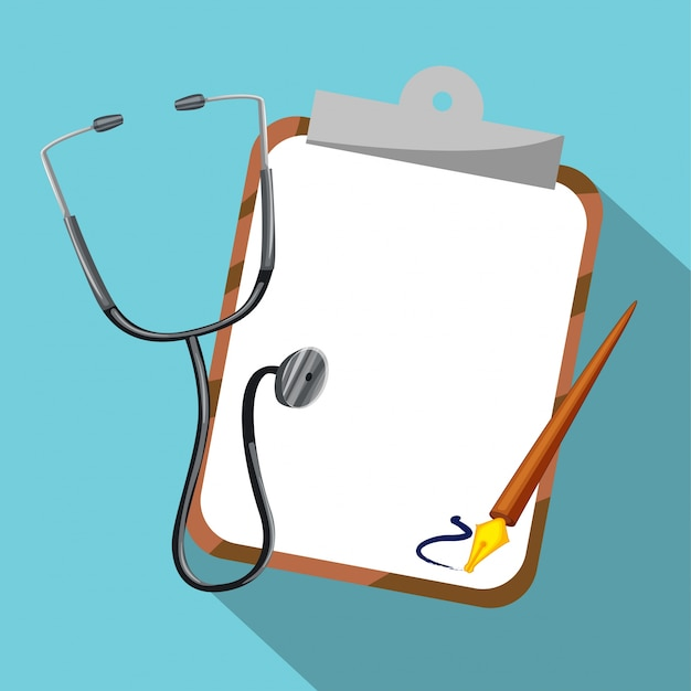 Stethoscope and board on blue background Free Vector